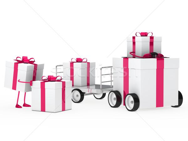 Noël cadeau véhicule coffret cadeau rose blanche Photo stock © dariusl
