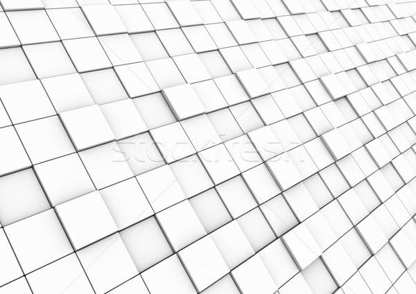 ストックフォト: 3D · キューブ · 壁 · 孤立した · 白 · ビジネス
