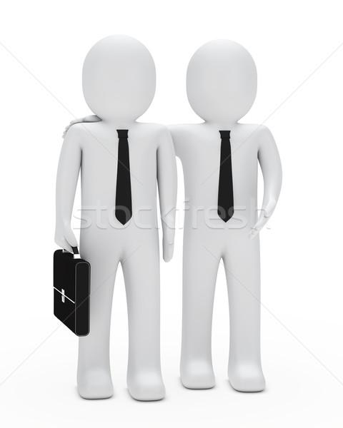 Işadamı göstermek kravat evrak çantası bir şey erkekler Stok fotoğraf © dariusl
