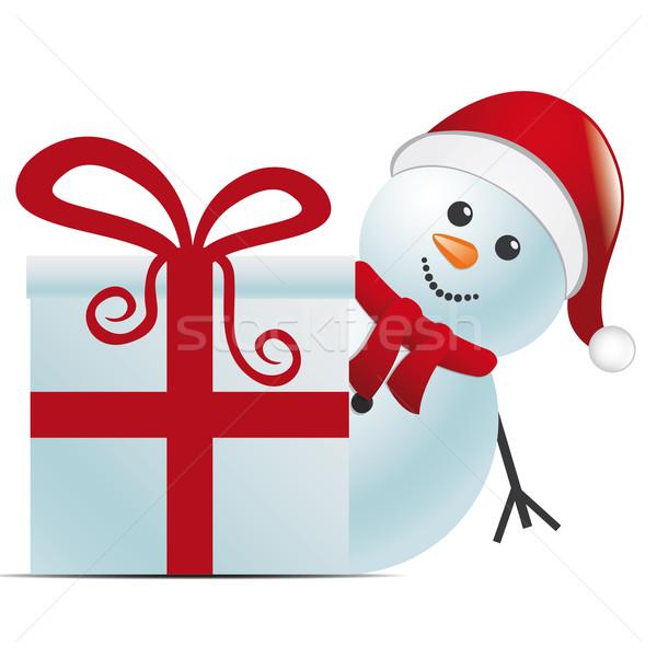 Kardan adam şapka arkasında hediye hediye kutusu Stok fotoğraf © dariusl