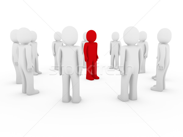 3d human circle red white Stock photo © dariusl
