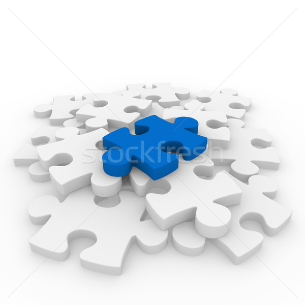 3d puzzle blue white Stock photo © dariusl