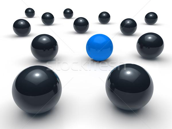 Ball 3d réseau bleu noir sphère équipe Photo stock © dariusl