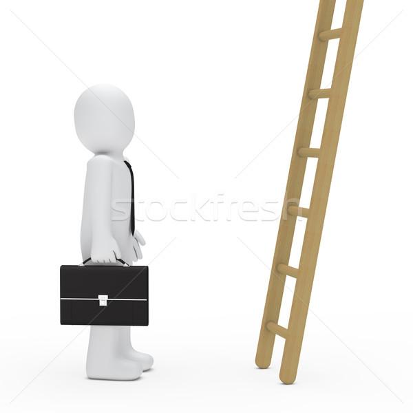Iş adamı evrak çantası aramak merdiven 3D iş Stok fotoğraf © dariusl