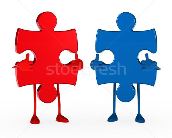 Due puzzle figura bianco blu Foto d'archivio © dariusl