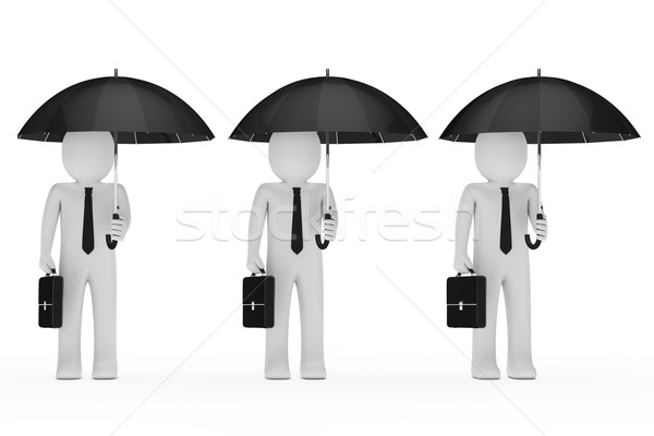 Foto stock: Empresários · manter · preto · guarda-chuva · pasta · chuva