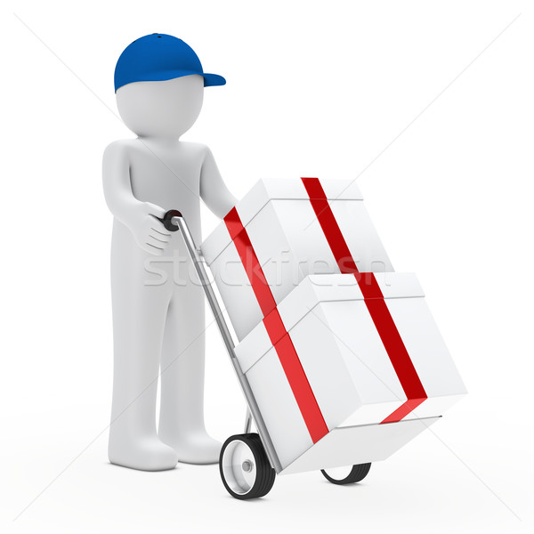figure supplier push hand truck Stock photo © dariusl