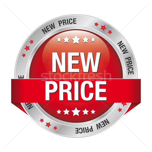 new price red silver button Stock photo © dariusl