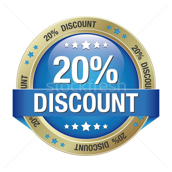 20 discount blue gold button Stock photo © dariusl