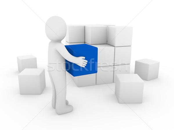3d human cube Stock photo © dariusl