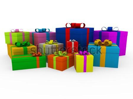 3D színes fehér ajándék doboz izolált buli Stock fotó © dariusl