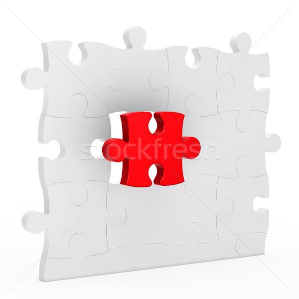 Rompecabezas pared uno rojo fuera blanco Foto stock © dariusl
