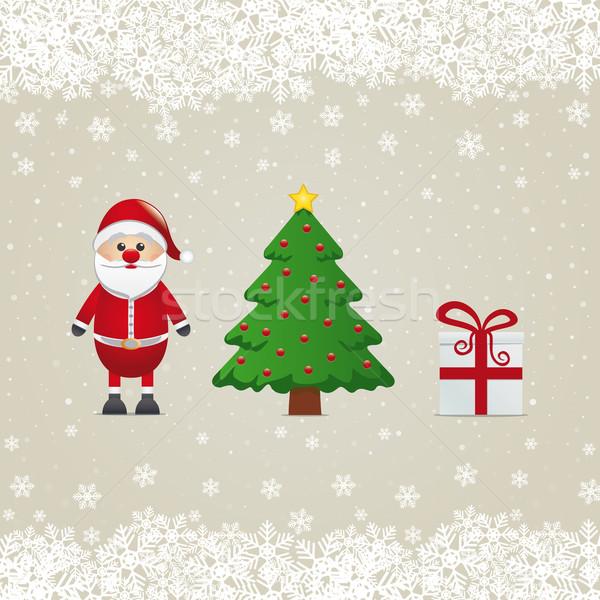 Noel baba hediye noel ağacı kar arka plan kutu Stok fotoğraf © dariusl
