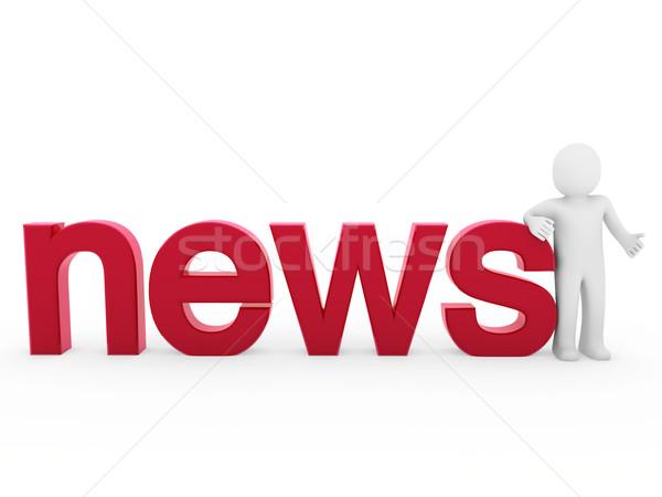 Новости читать красный изолированный белый Сток-фото © dariusl
