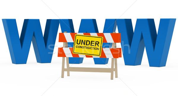 WWW építkezés kék épület terv felirat Stock fotó © dariusl