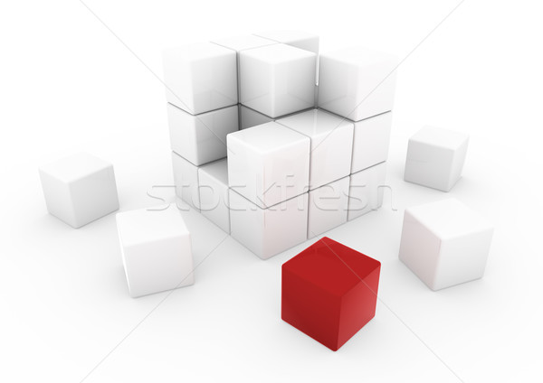 3D affaires cube rouge blanche isolé Photo stock © dariusl