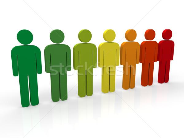 3d insanlar grup kırmızı takım çalışması renkli mavi Stok fotoğraf © dariusl