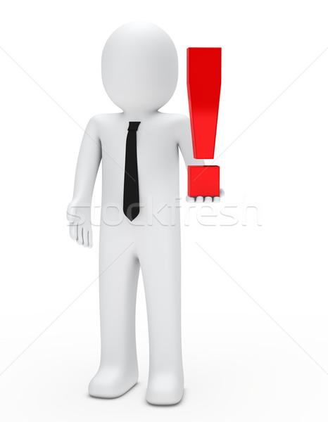 man hold exclamation mark Stock photo © dariusl