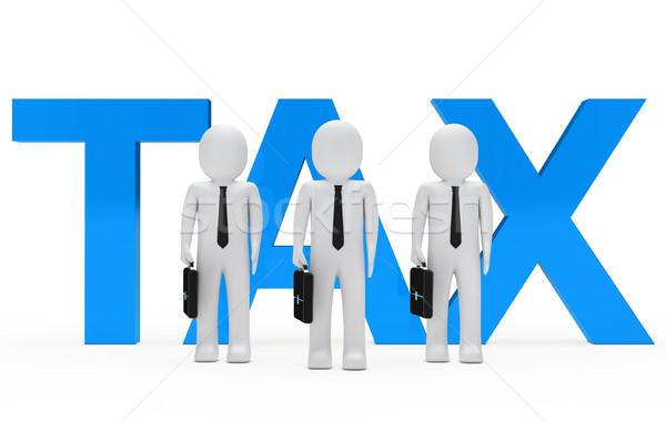 Adó üzletemberek csapat áll kék szó Stock fotó © dariusl