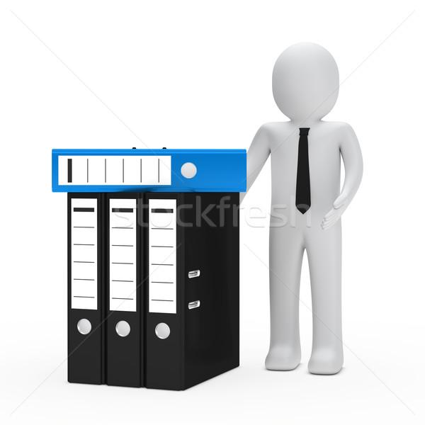 Empresario carpeta empate mostrar azul negro Foto stock © dariusl