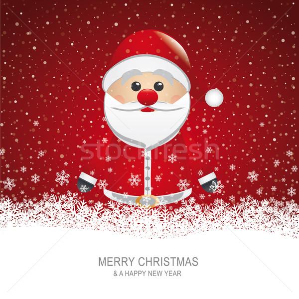 Noel baba kar tanesi şapka kar adam kart Stok fotoğraf © dariusl