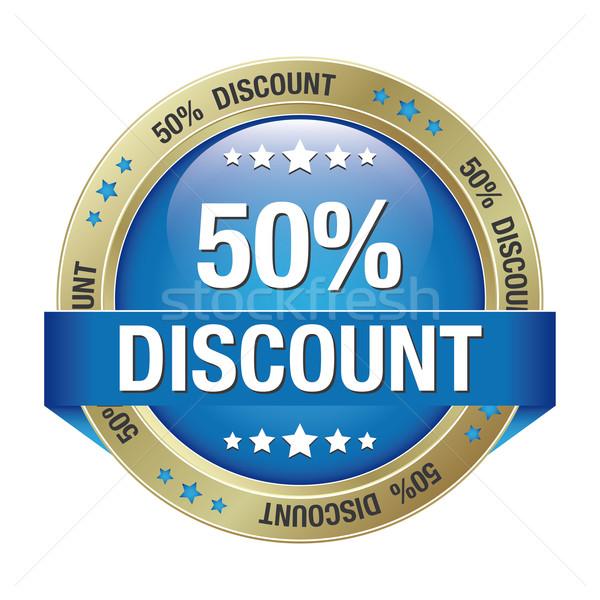 50 discount blue gold button Stock photo © dariusl