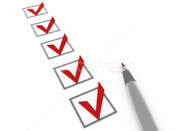 3d check red box pen Stock photo © dariusl