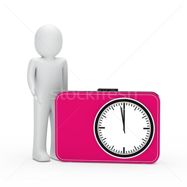 Foto stock: O · homem · 3d · rosa · tempo · em · pé · próximo · relógio