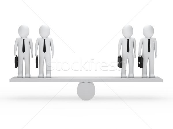 Uomini d'affari equilibrio altalena 3D valigetta legno Foto d'archivio © dariusl