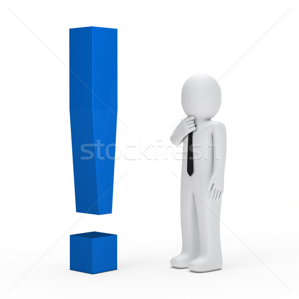Işadamı mavi ünlem işareti 3D iş adamı arka plan Stok fotoğraf © dariusl