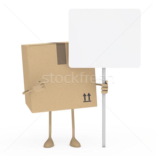 Pakket vinger witte billboard protest karton Stockfoto © dariusl