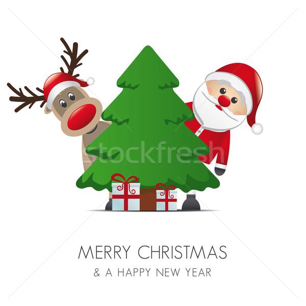 Ren geyiği noel baba noel ağacı hediye hediye kutusu arka plan Stok fotoğraf © dariusl