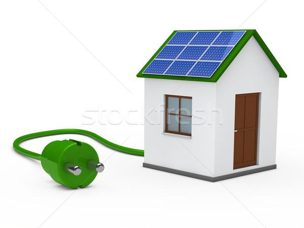 3d solar house with plug Stock photo © dariusl
