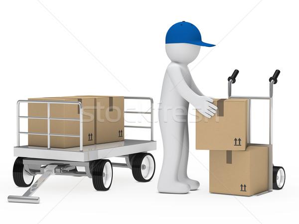 Figura caricare pacchetto mano camion mail Foto d'archivio © dariusl