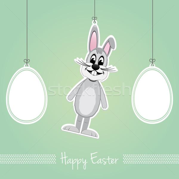 happy easter bunny eggs green background Stock photo © dariusl