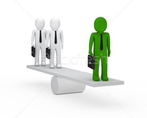 Uomini d'affari equilibrio altalena 3D valigetta verde Foto d'archivio © dariusl