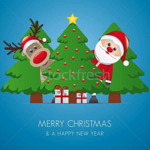 ストックフォト: トナカイ · サンタクロース · クリスマスツリー · ギフト · ギフトボックス · ボックス