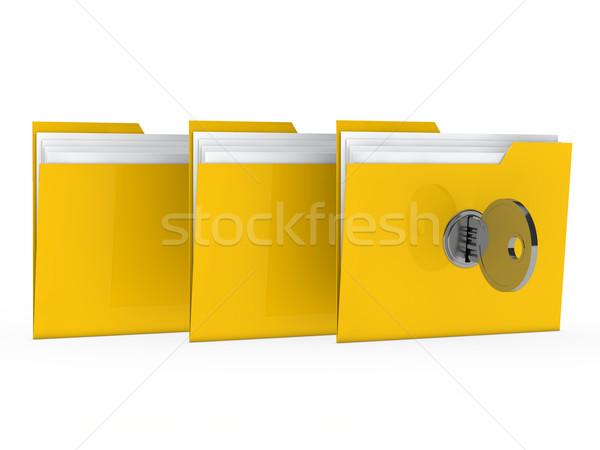 Map sleutel Geel gegevens papier sluiten Stockfoto © dariusl