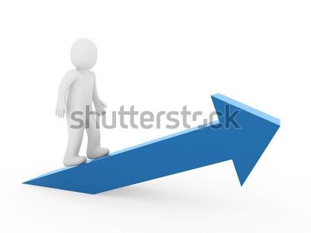 3d man arrow high green Stock photo © dariusl