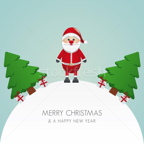 Noel baba noel ağacı hediye dünya arka plan kutu Stok fotoğraf © dariusl