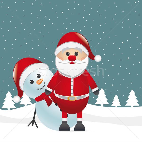 snowman behind santa claus winter landscape Stock photo © dariusl