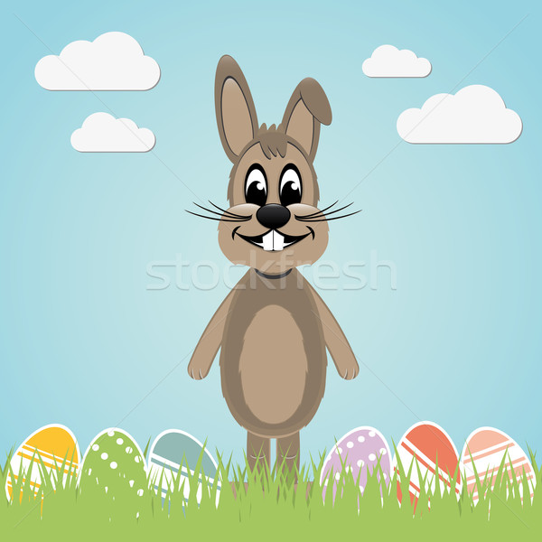 brown easter bunny colorful eggs Stock photo © dariusl