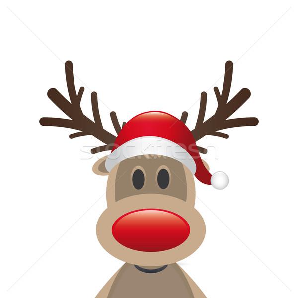 ストックフォト: トナカイ · 赤 · 鼻 · サンタクロース · 帽子 · 幸せ