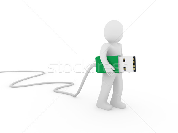 Сток-фото: человека · usb · Stick · зеленый · Plug