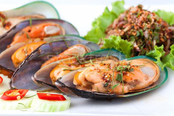 Gekookt schelpdier gekruid salade witte Stockfoto © darkkong
