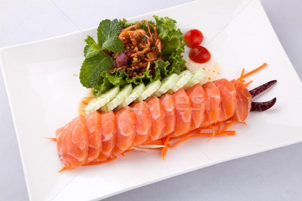 лосося пряный Салат белый пластина продовольствие Сток-фото © darkkong
