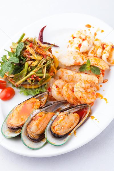 シーフード 辛い サラダ 白 プレート 魚 ストックフォト © darkkong