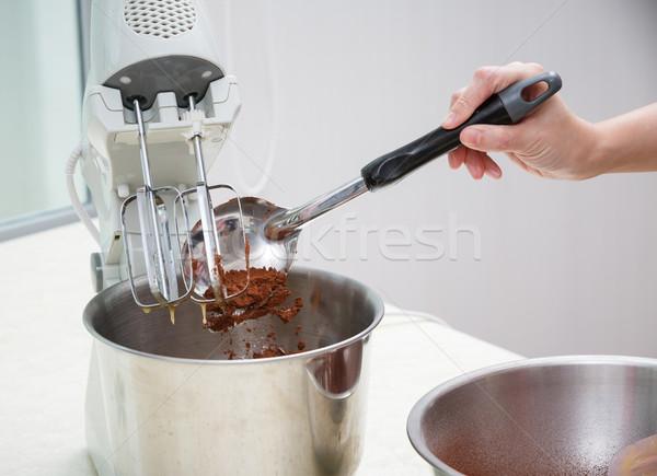 mixing chocolate dough Stock photo © darkkong