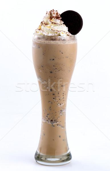 Zweep room cookie voedsel koffie witte Stockfoto © darkkong