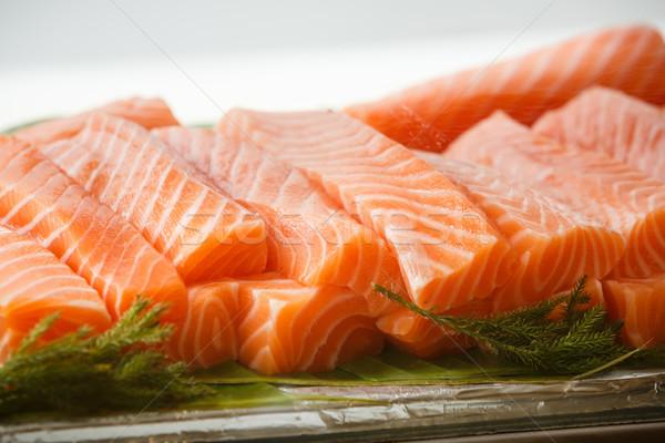 Somon sashimi cam kutu yemek Stok fotoğraf © darkkong